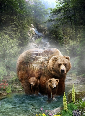 9b4bfc39c Hoffman Call of the Wild Digital Q4491 260 Grizzly Panel $12.50/panel 33