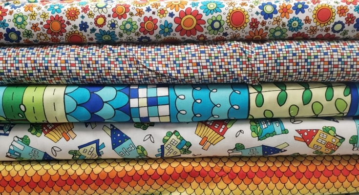 Cotton Fabric Fat Quarter quilting Viking Adventures Lewis and Irene blue ditsy