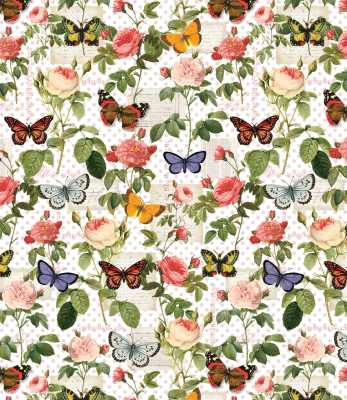 Spring Garden Fabric Studio E YARD Flight of Fancy Butterfly Toss Cream