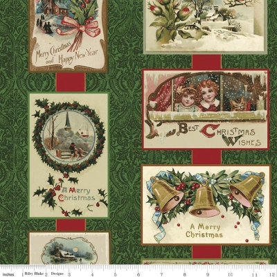 6cc24caa2f9 Riley Blake Joyous Christmas by Erin Turner Studio SC5200 Green Card  Sampler  10.30 yd