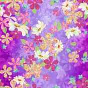 3 Wishes In the Meadow - Digital by Connie Haley 14488 Purple Flowers $11.70/yd