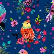 1ad21e474d5 3 Wishes Bright Birds Digital 14985 Navy Floral Birds $10.90/yd PREORDER  DUE JULY/AUG '19