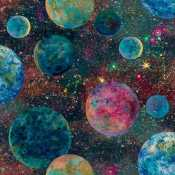 c82b55da87d 3 Wishes Ray of Hope Digital by Josephine Wall 16044 Multi Planets  $11.70/yd PREORDER DUE JAN/FEB '20