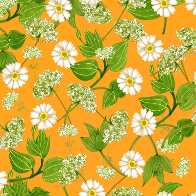 7619172f3bf Clothworks Zinnias in Bloom by Sue Zipkin Y2781 35 Light Orange Daisies   10.70 yd PREORDER DUE JULY AUG  19